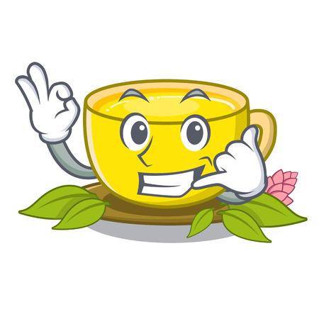 Call me turmeric tea above mascot wood table vector illustrtaion