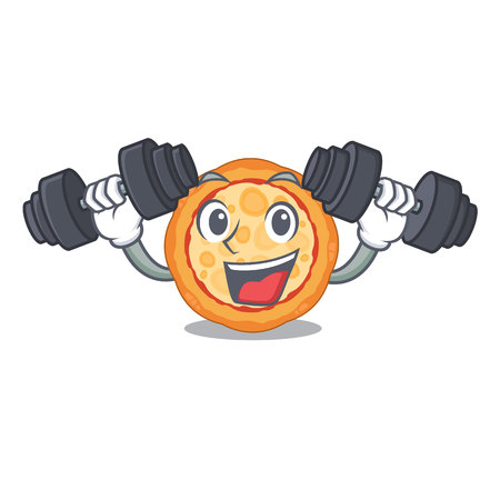 Fitness cheese pizza served on cartoon board vector illustration
