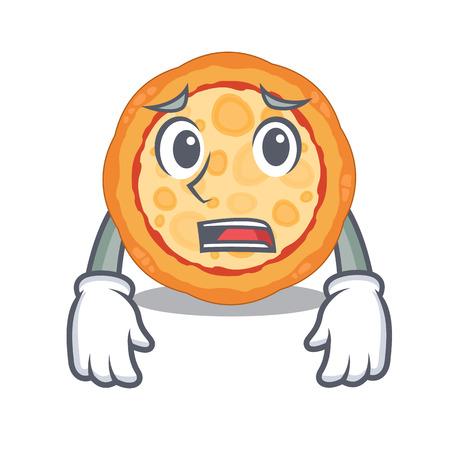 Afraid cheese pizza in the cartoon shape