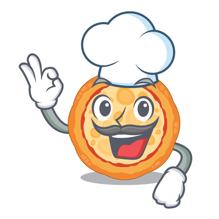 Chef cheese pizza isolated with the mascot