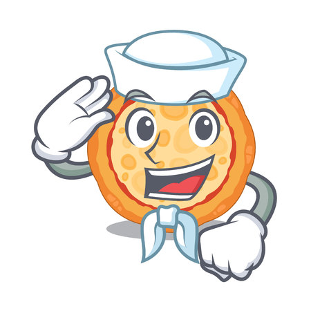 Sailor cheese pizza served on cartoon board