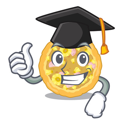 Graduation hawaiian pizza in the mascot shape