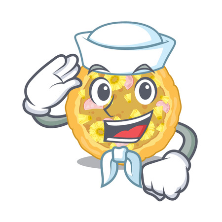 Sailor hawaiian pizza isolated in the character Illustration