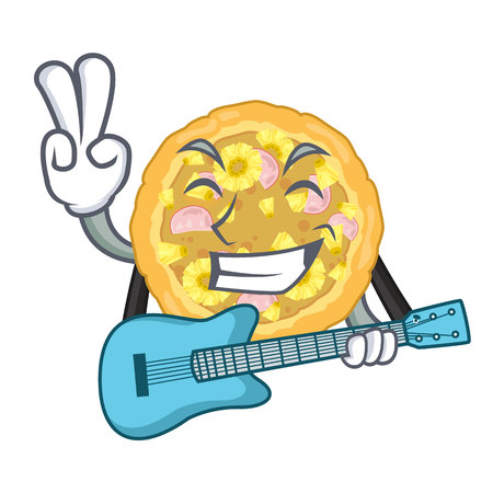 With guitar hawaiian pizza is served cartoon plates Иллюстрация