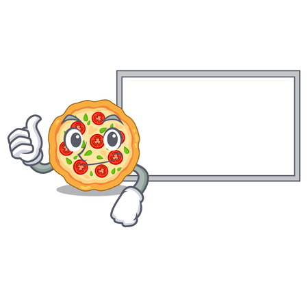 Thumbs up with board margherita pizza in a cartoon oven