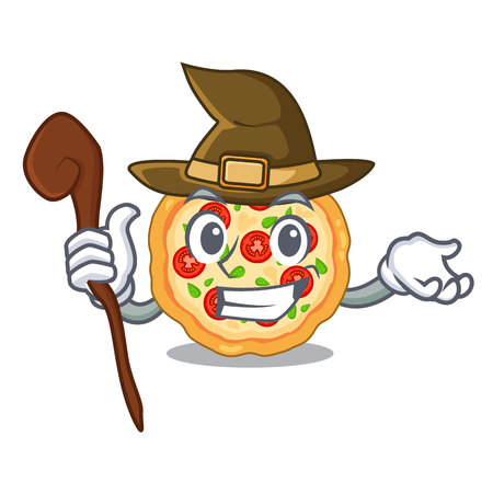 Witch margherita pizza isolated with the cartoons