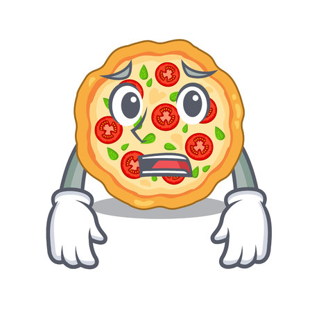 Afraid margherita pizza isolated with the cartoons
