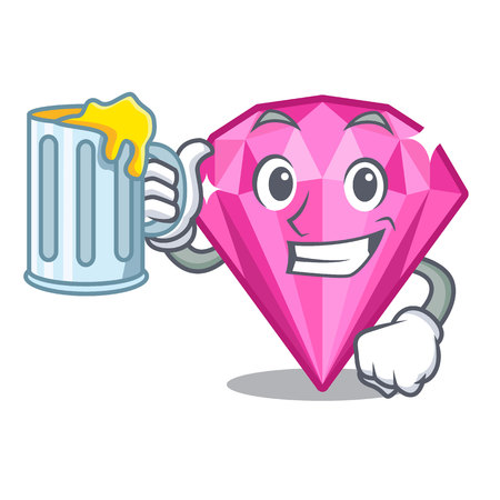 With juice pink diamond in the mascot shape vector illustration