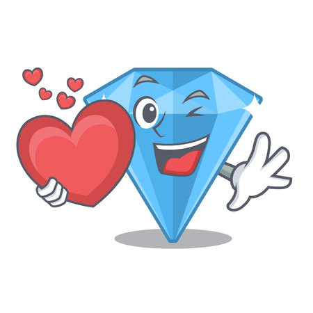 With heart sapphire gem in a mascot box vector illustration