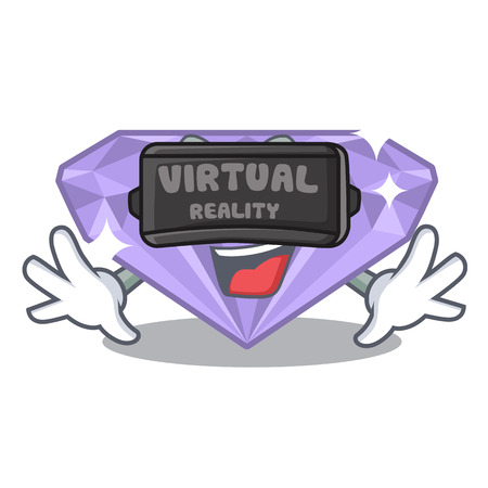 Virtual reality violet diamond in a cartoon bag