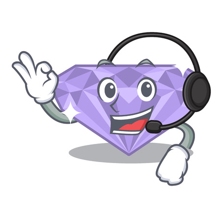 With headphone violet diamond in the cartoon box vector illuusstration