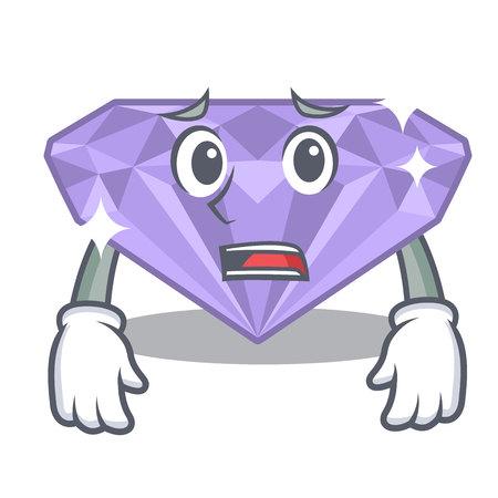 Afraid violet diamond in a cartoon bag vector illustration