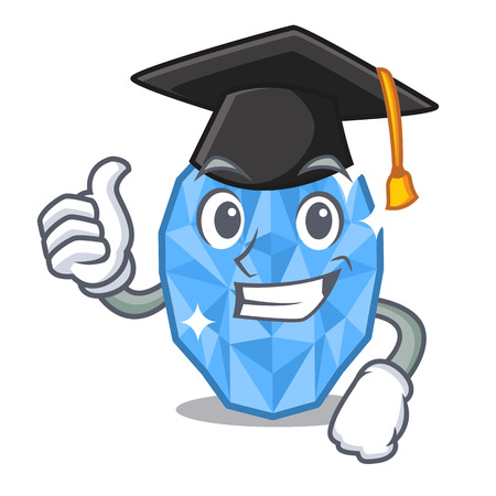 Graduation aquamarine gem in the character shape vector illustration