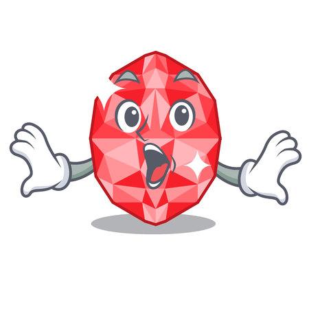 Surprised ruby gems above cartoon dressing table vector illustration