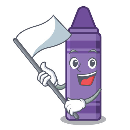 With flag purple crayon in a mascot bag vector illustration