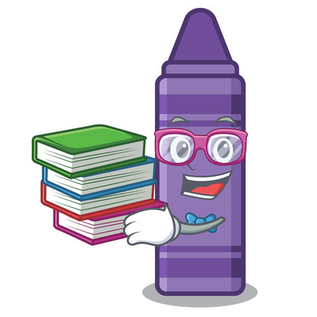 Student with book purple crayon in a mascot bag vector illustration