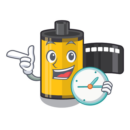 With clock camera roll isolated with the character vector illustration