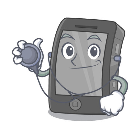 Doctor phone the in a mascot bag