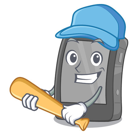Playing baseball phone the in a mascot bag Illustration