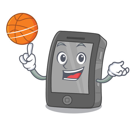 With basketball phone the in a mascot bag Illustration