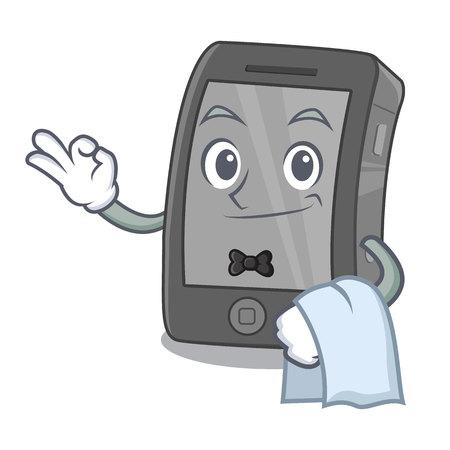 Waiter phone on a wooden cartoon table Vector Illustration
