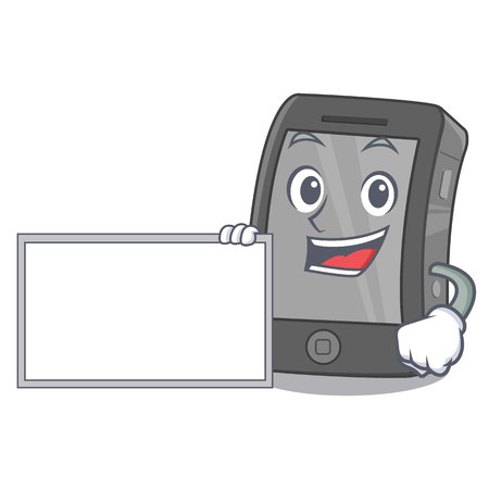 With board phone the in a mascot bag