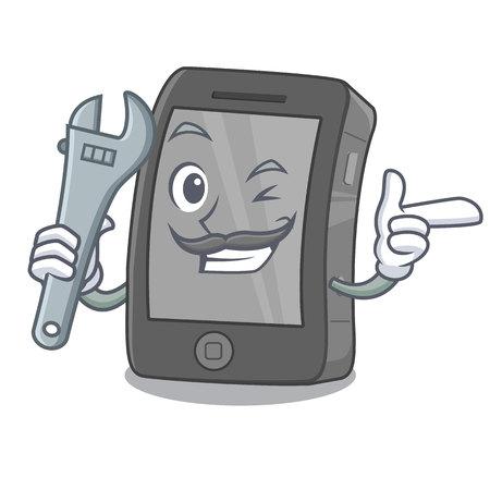 Mechanic phone in the a cartoon shape