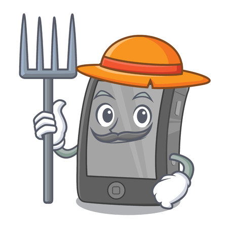 Farmer phone the in a mascot bag