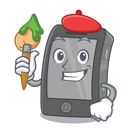 Artist phone the in a mascot bag