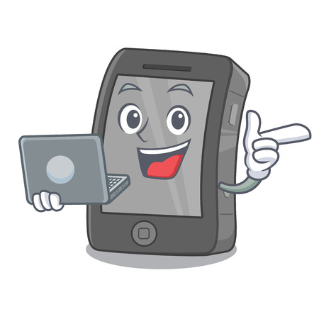 With laptop phone the in a mascot bag Illustration