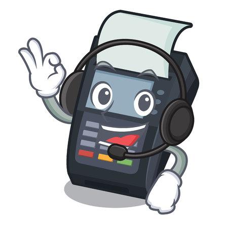 With headphone EDC machine on the character cardboard