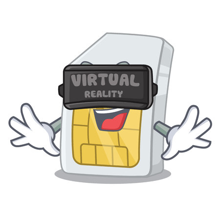 Virtual reality simcard isolated with in the cartoon vector illustration Illustration