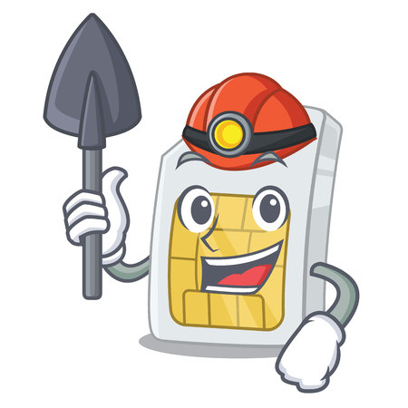 Miner sim card isolated with in the cartoon Illustration