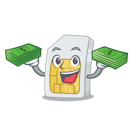 With money bag sim card isolated with in the cartoon Illustration