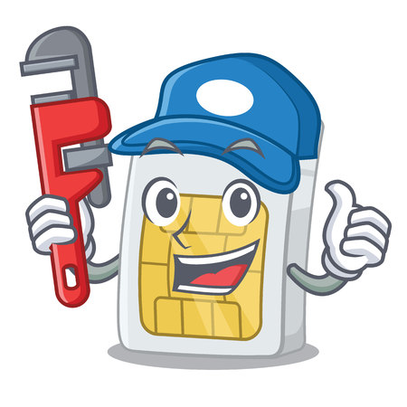 Plumber simcard in the a mascot wallet vector illustration