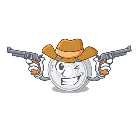 Cowboy smoke detector attached the character wall Ilustração