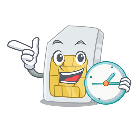 With clock simcard in the a character shape vector illustration