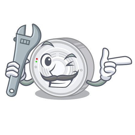 Mechanic smoke detector above the cartoon table vector illustration