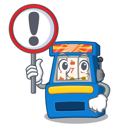 With sign slot machine in the mascot shape vector illustrartion