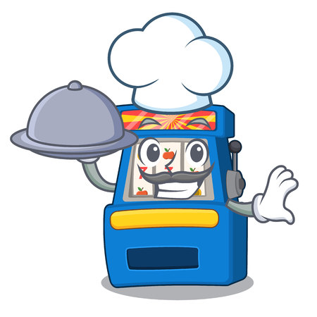 Chef with food slot machine next to cartoon chair Illustration
