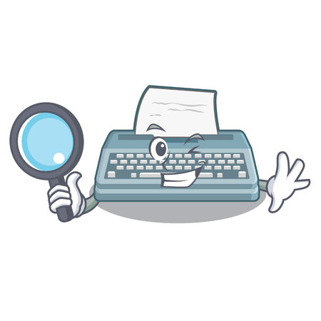 Detective typewriter isolated with in the cartoon Ilustração