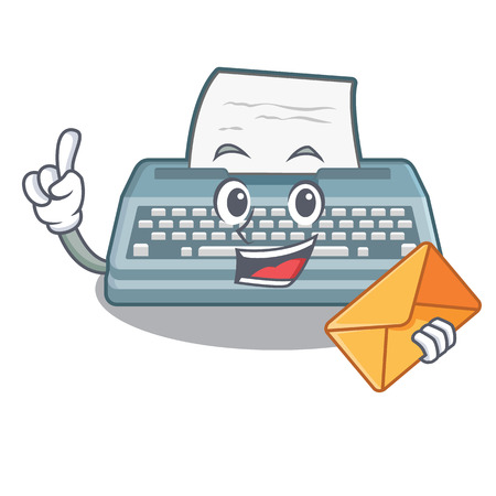 With envelope typewriter isolated with in the cartoon vector illustration