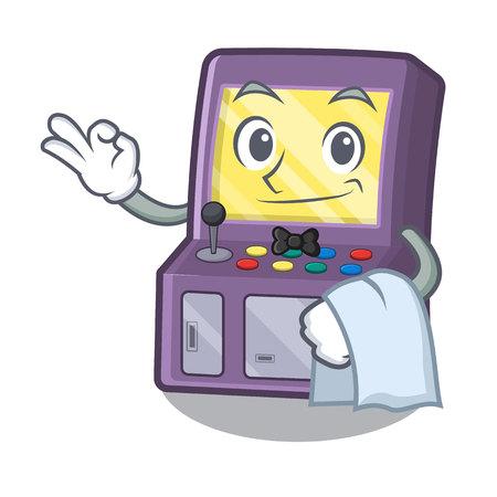 Waiter arcade machine next to mascot table vector illustration