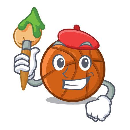 Artist basket ball in the character shape vector illustration