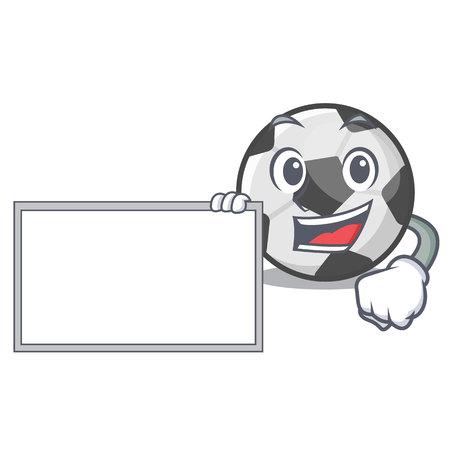 With board soccer ball in the cartoon shape vector illustration Иллюстрация