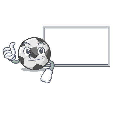 Thumbs up with board soccer ball in the cartoon shape vector illustration