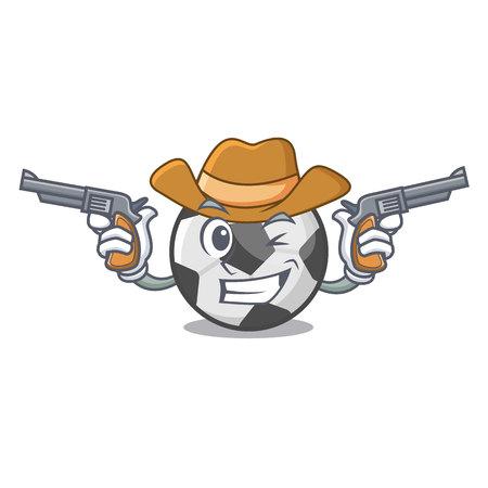 Cowboy soccer ball in the cartoon shape vector illustration