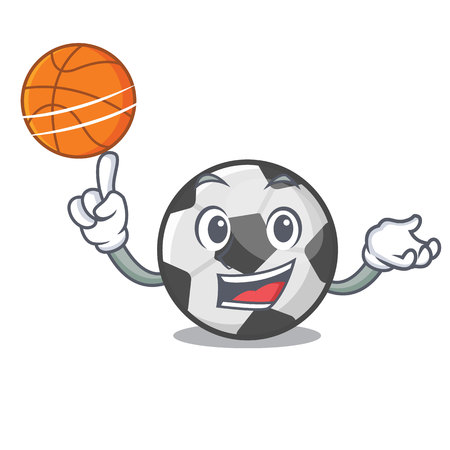 With basketball soccer ball in the cartoon shape vector illustration Иллюстрация