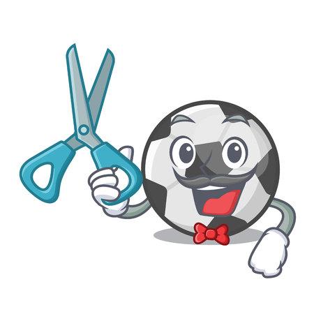 Barber soccer ball in the cartoon shape vector illustration Иллюстрация