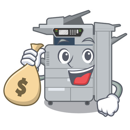 With money bag copier machine in the cartoon shape vector illustration